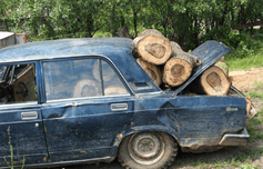 car loaded with firewood